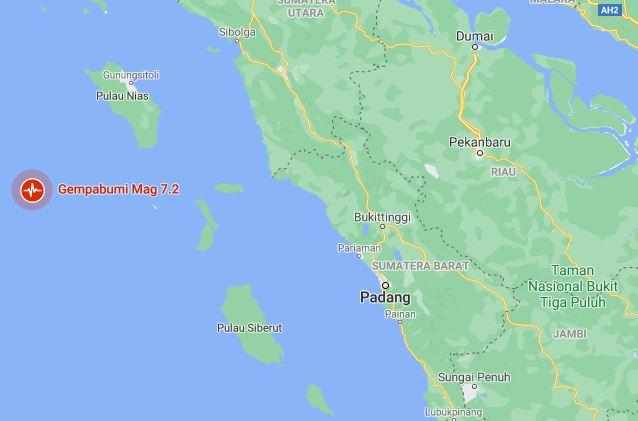 Breaking News, Gempa Kekuatan 7,2 Magnitudo Mengguncang Nias Barat Sumatera Utara
