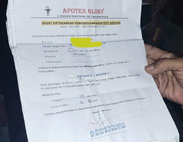 Janggal,? Wisatawan Ngaku dari Bogor, Surat Keterangan Rapid Test dari Apotek Oksibil Papua