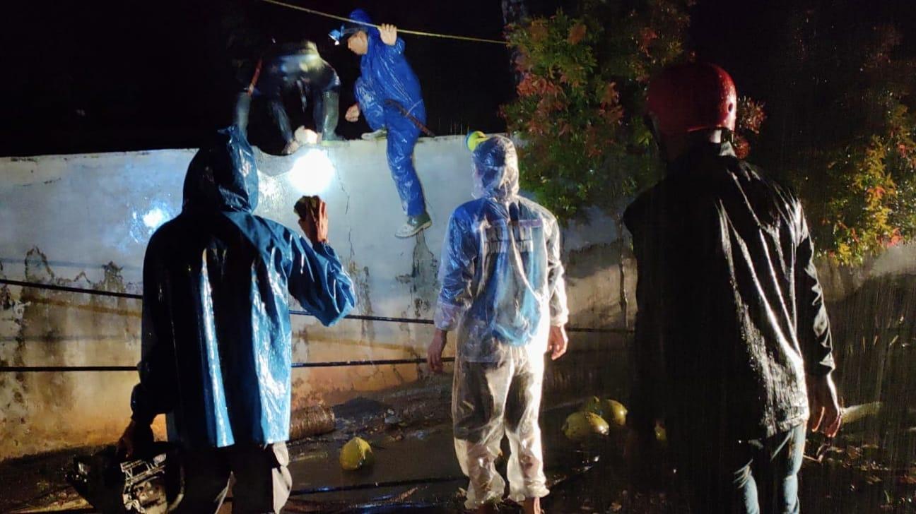 Evakuasi Pohon Tumbang yang Menimpa Rumah Warga dan Tiang Gardu PLN Berlangsung Dramatis